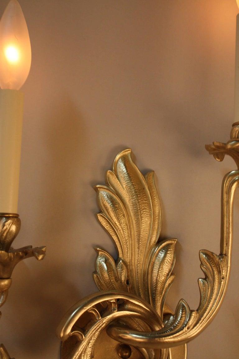 French  Pair of Bronze Art Nouveau Wall Sconces For Sale