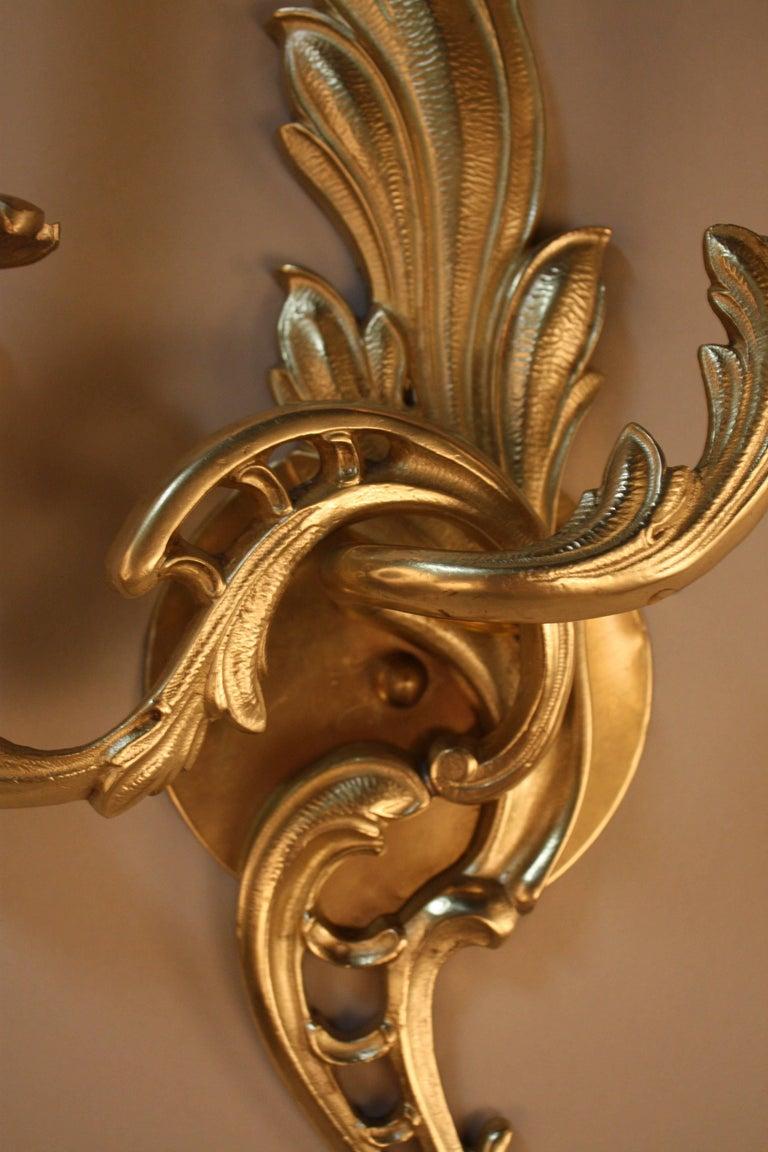 Mid-20th Century  Pair of Bronze Art Nouveau Wall Sconces For Sale