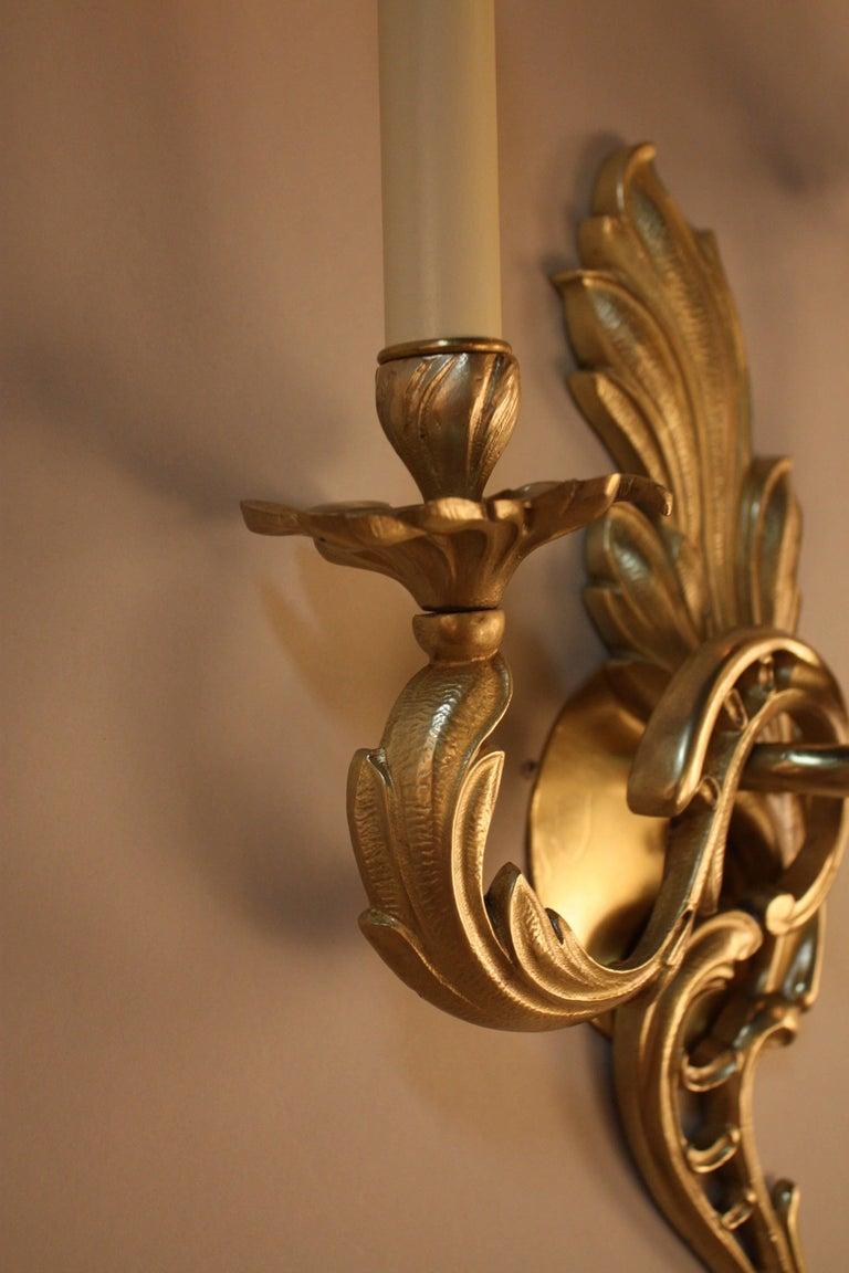 Pair of Bronze Art Nouveau Wall Sconces For Sale 1