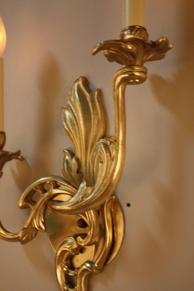 Pair of Bronze Art Nouveau Wall Sconces For Sale 2
