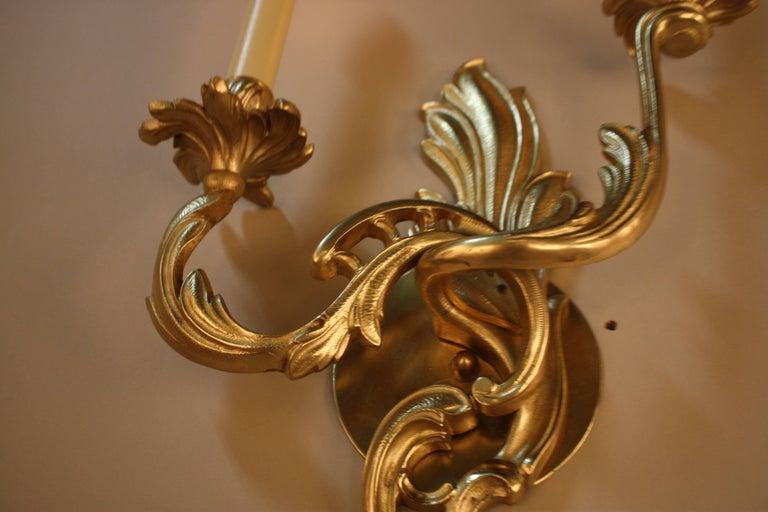 Pair of Bronze Art Nouveau Wall Sconces For Sale 3