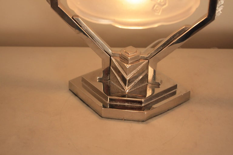 Frosted French Art Deco Table Lamp For Sale