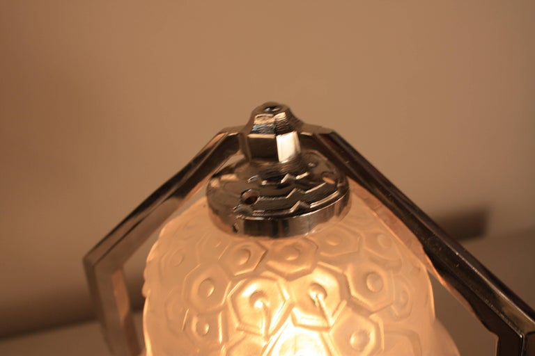 Nickel French Art Deco Table Lamp For Sale