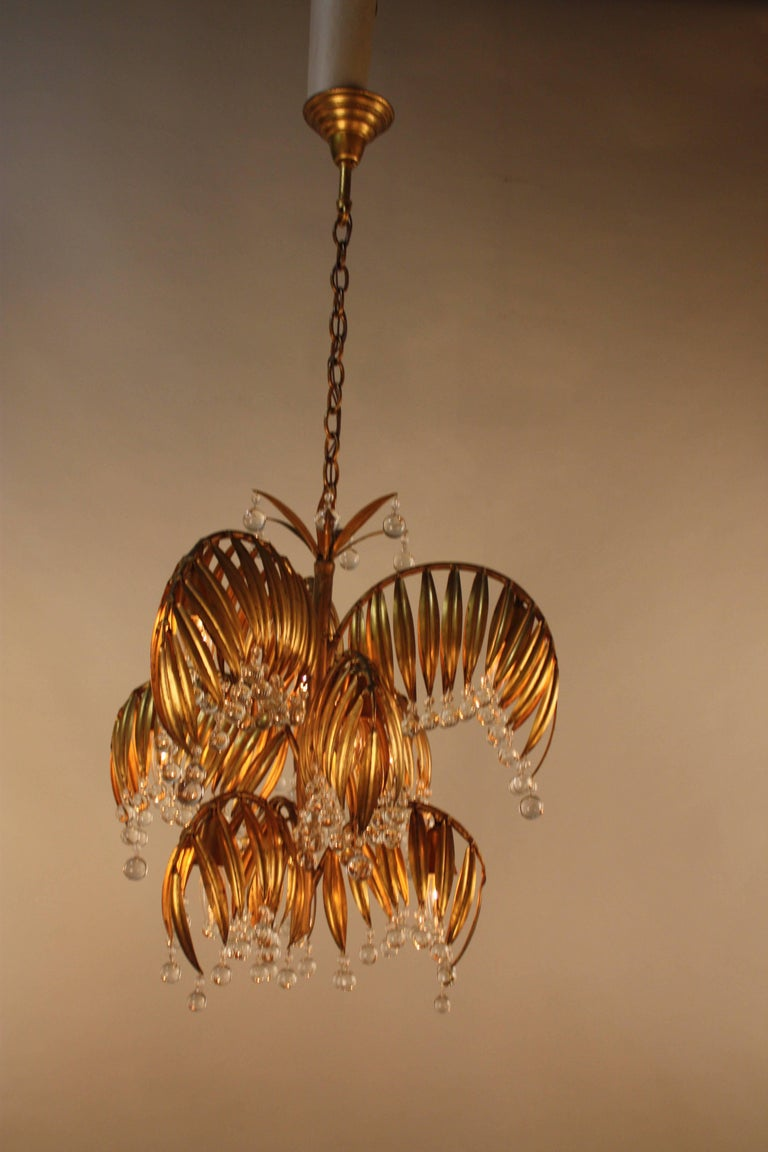 Handcrafted Gold Leaf On Metal Palm Tree Crystal