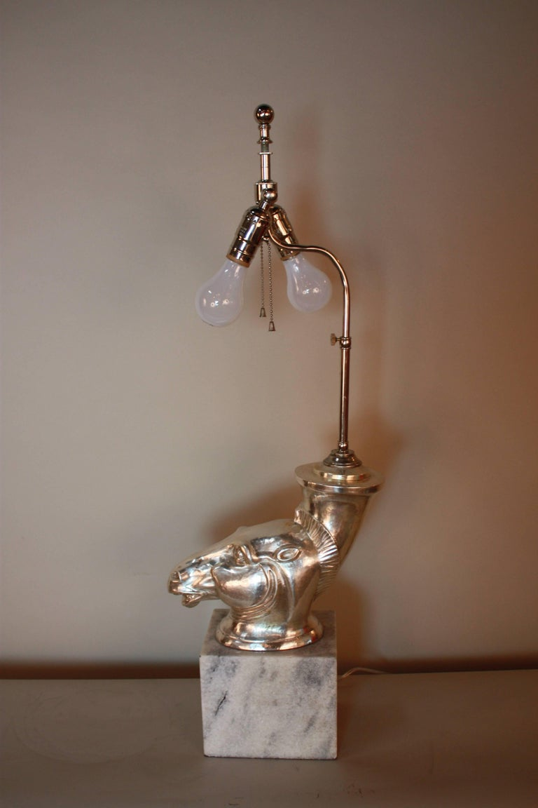 French Silver Sculpture Rhyton Vase Table Lamp For Sale