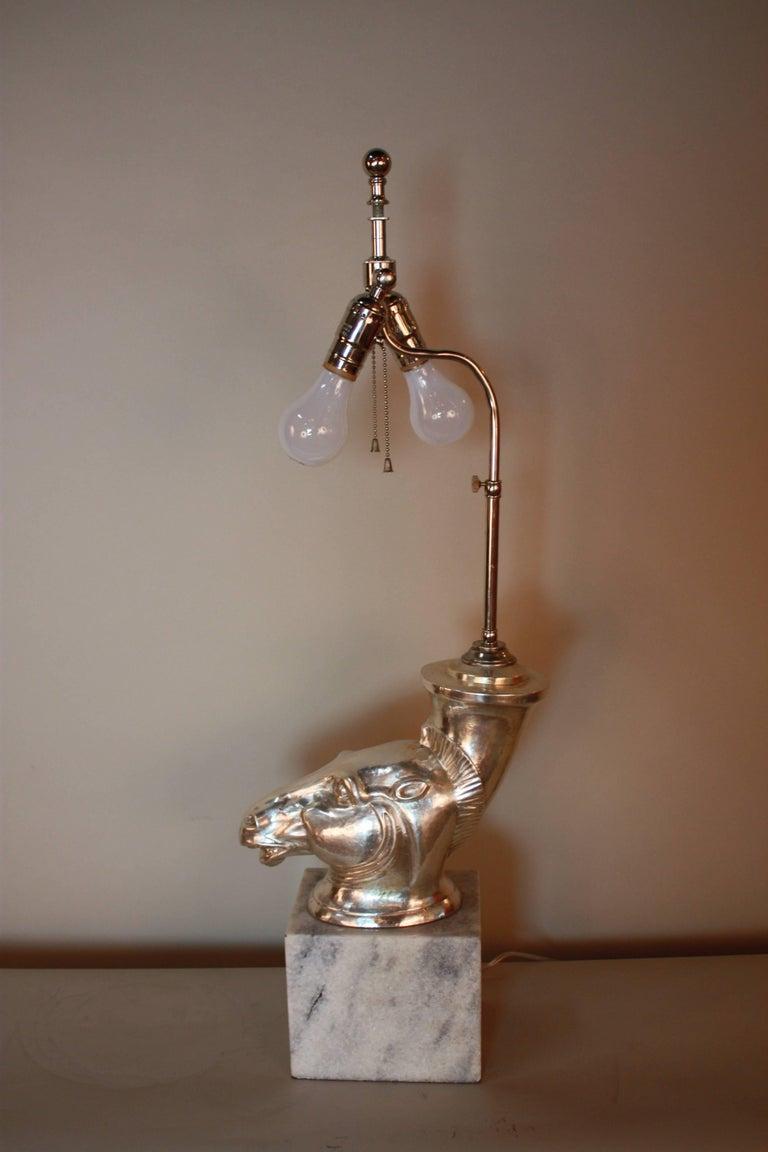 Silver Sculpture Rhyton Vase Table Lamp 3