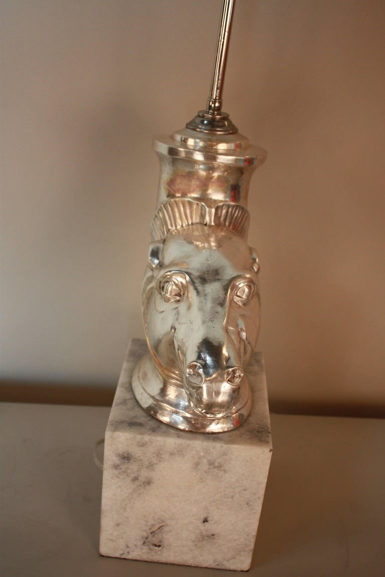 Late 20th Century Silver Sculpture Rhyton Vase Table Lamp For Sale