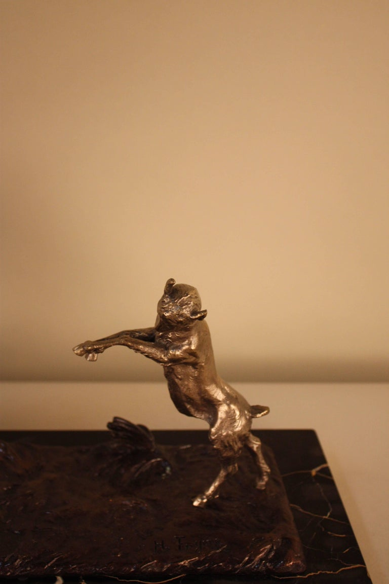 Sculpture of Nude Woman and Dancing Goat by Henri Fugère 3
