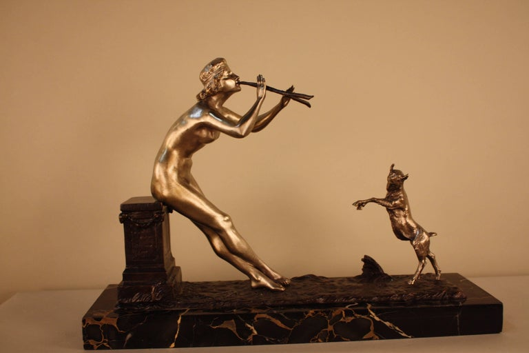 French Sculpture of Nude Woman and Dancing Goat by Henri Fugère For Sale