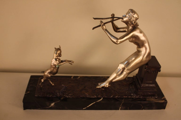 Bronze Sculpture of Nude Woman and Dancing Goat by Henri Fugère For Sale