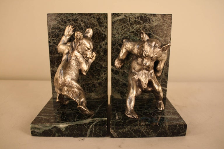 Silver on bronze bear black and green marble bookends.