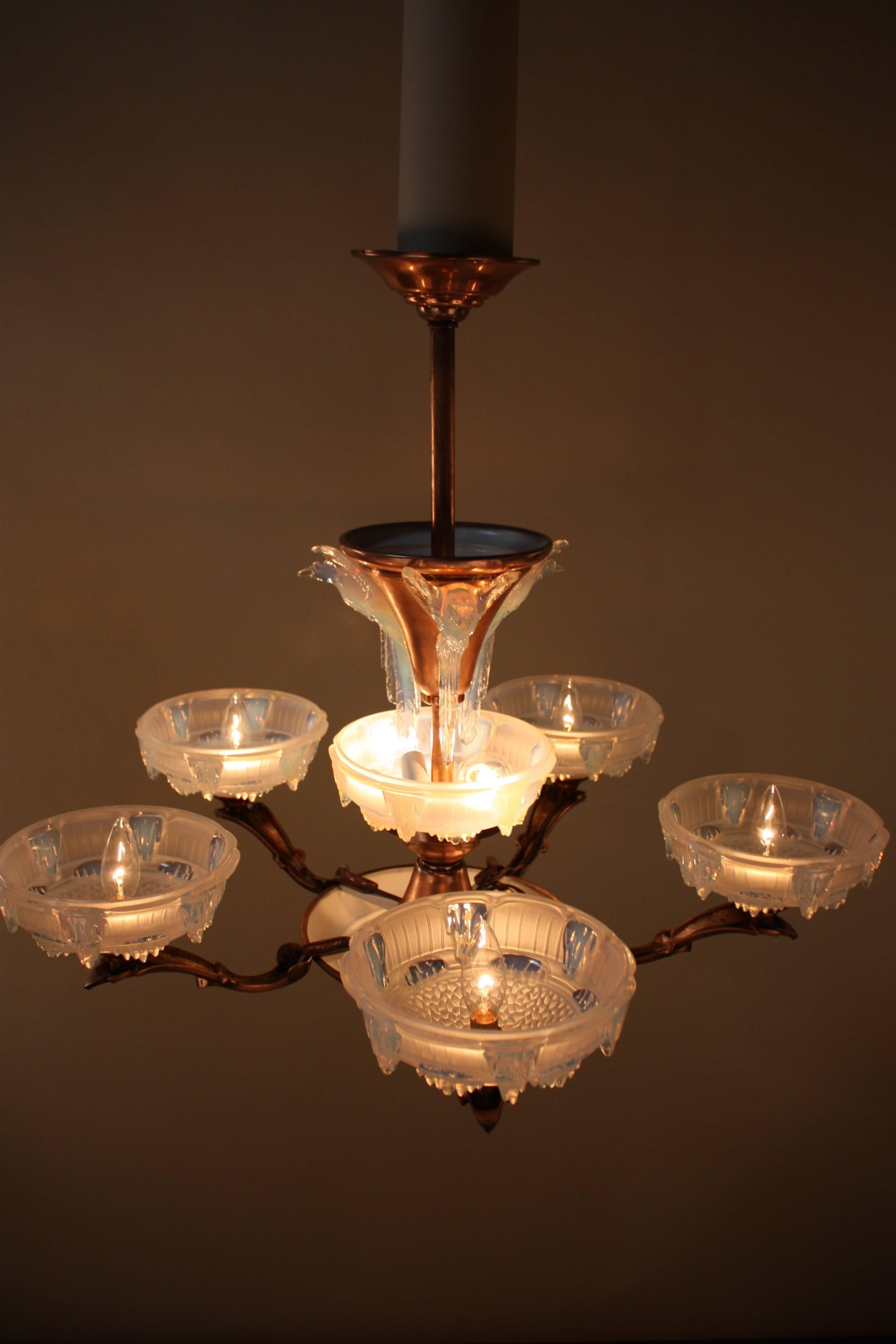 Mid 20th Century French Art Deco Chandelier by