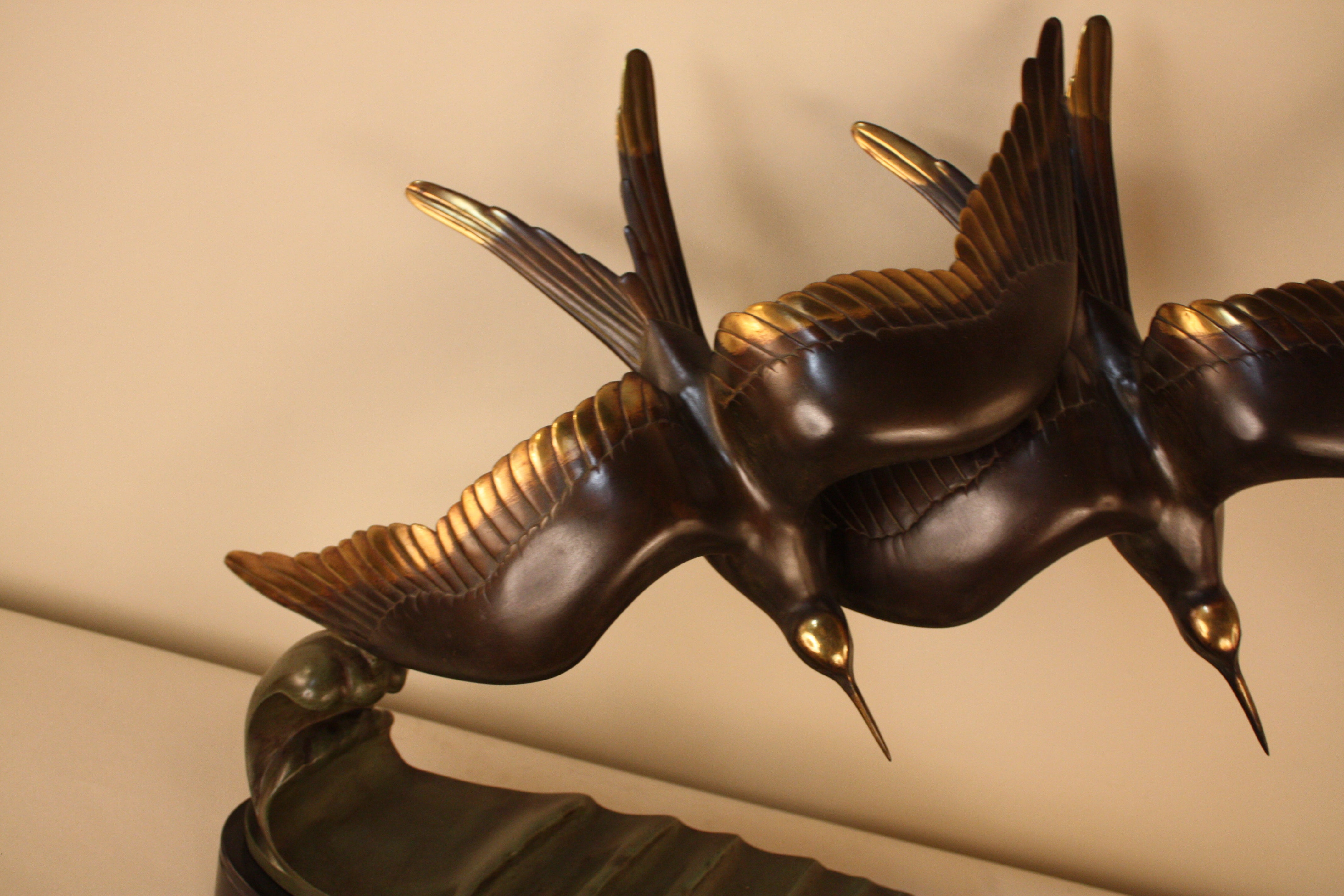 French Art Deco Bronze Bird in Flying Motion Sculpture For Sale at ...