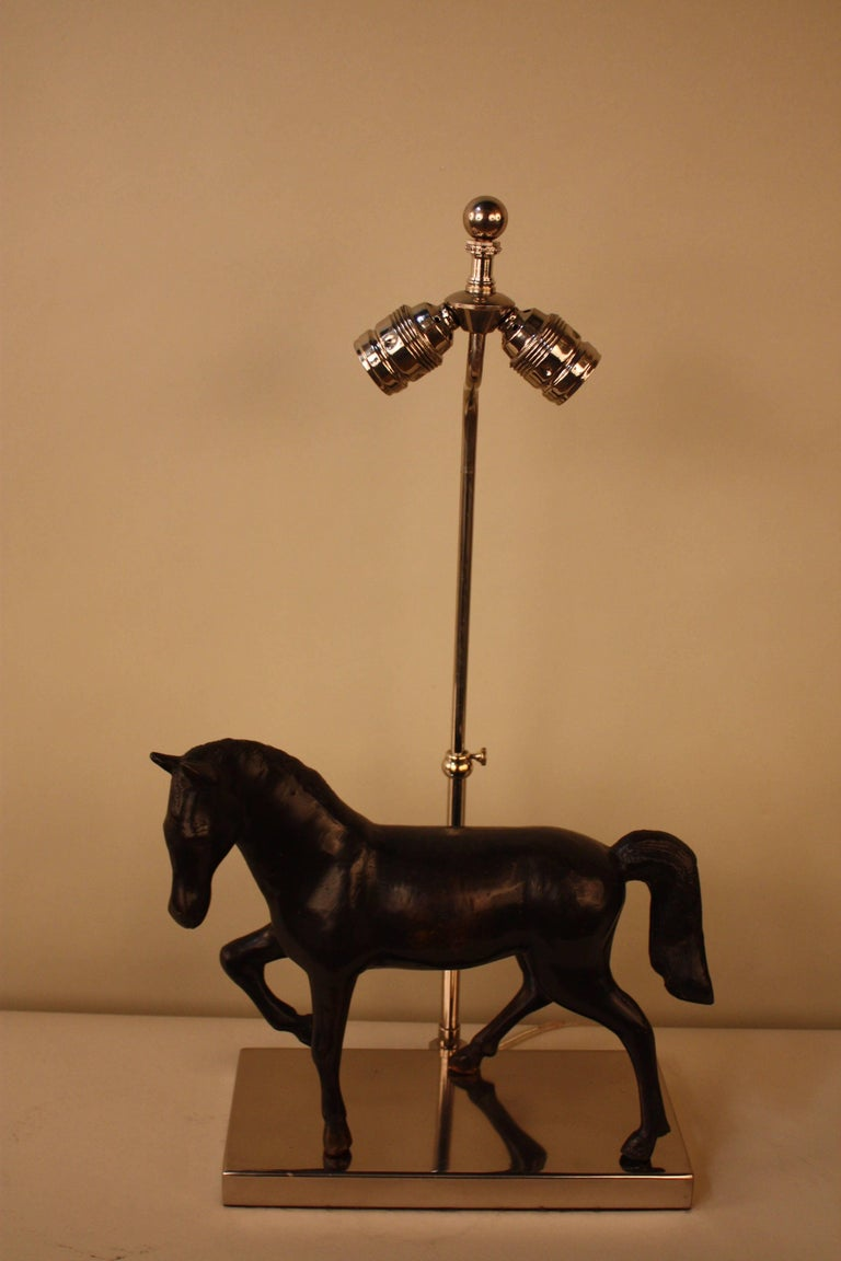Bronze Horse Sculpture Table Lamp For Sale 2