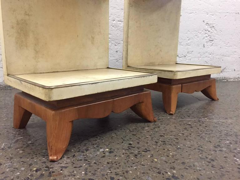 Bronze Pair of Parchment Nightstands Manner of Osvaldo Borsani For Sale