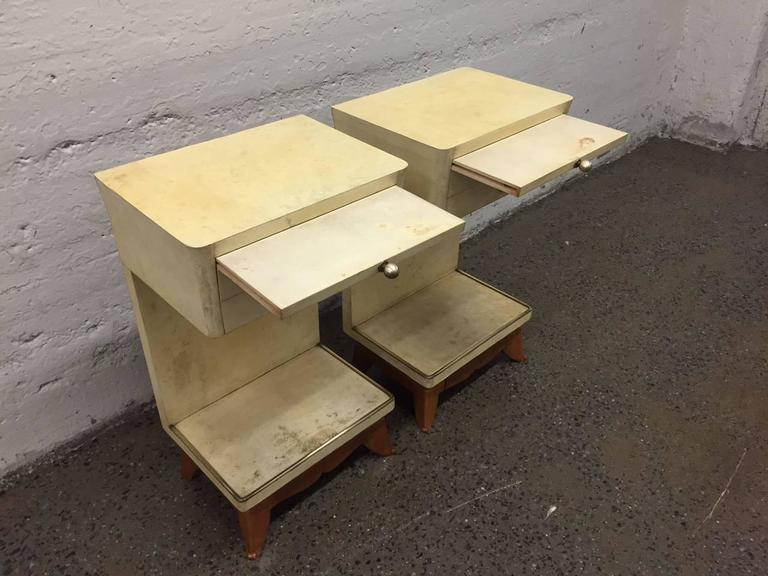 Mid-20th Century Pair of Parchment Nightstands Manner of Osvaldo Borsani For Sale