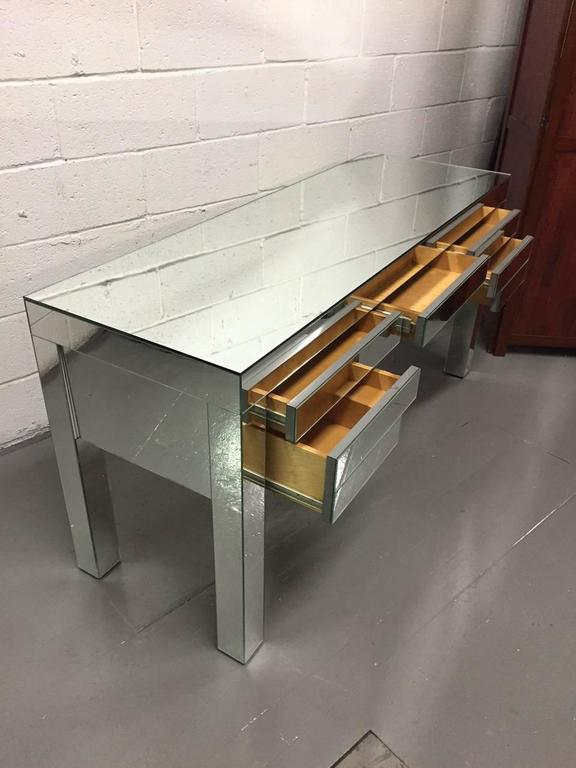 Art Deco Custom Clad Mirrored Desk, Custom Design For Sale