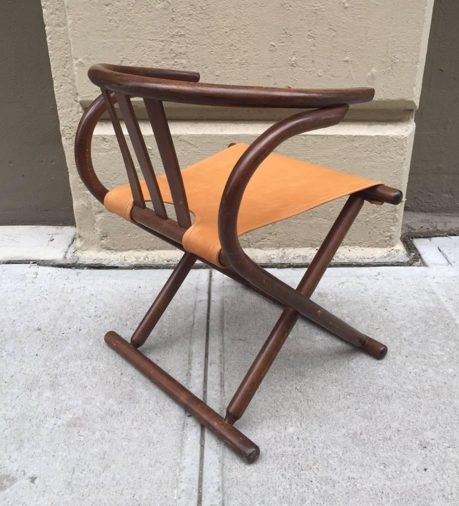 Pair Of Thonet Leather Bentwood Folding Chairs For Sale At 1stdibs