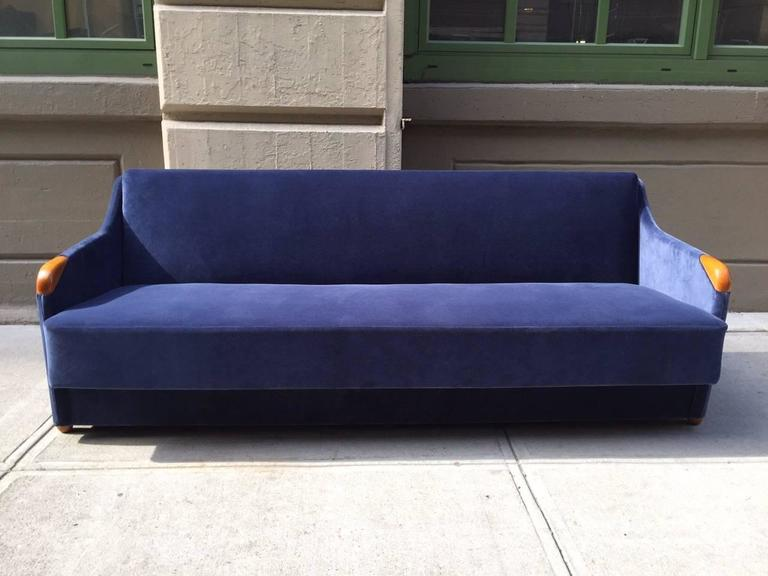 1950s Sleeper Sofa Daybed In Blue Velvet Nice Which Converts To A Bed