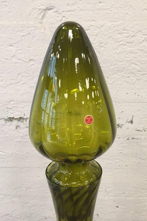 Large Empoli art glass decanter.