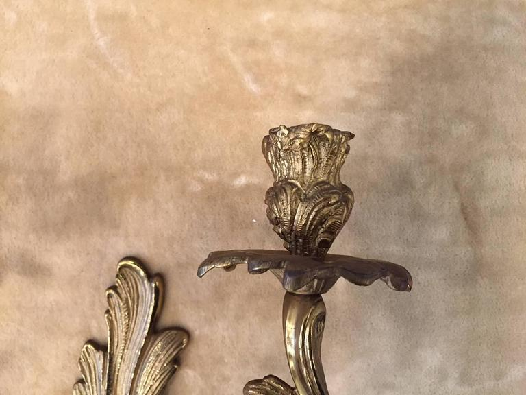 Pair of Louis XV Style Gilt Bronze Sconces In Good Condition For Sale In New York, NY