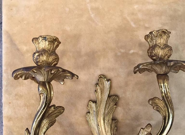 French Pair of Louis XV Style Gilt Bronze Sconces For Sale