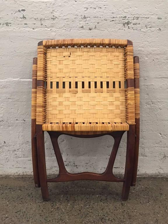 Pair Of Danish Woven Caned Lounge Chairs Style Of Hans