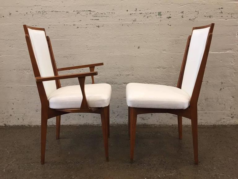 Mid-Century Modern Set of Six Walnut Italian Dining Chairs  For Sale