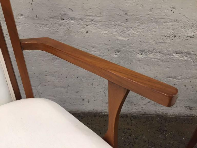 Brass Set of Six Walnut Italian Dining Chairs  For Sale