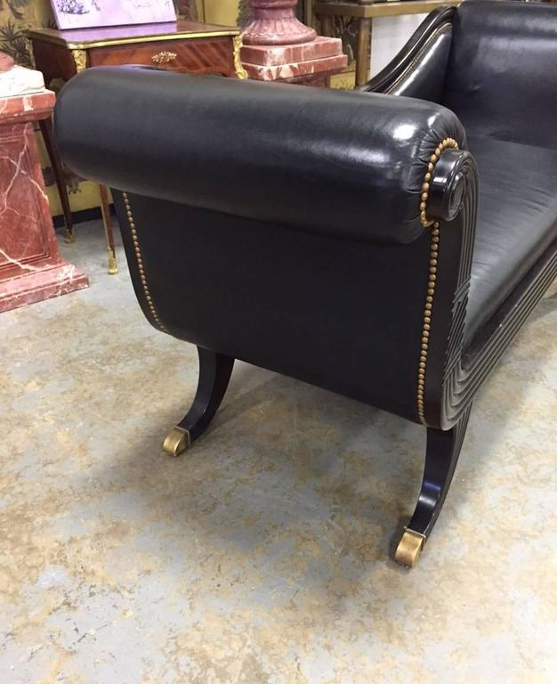 Lacquered Duncan Phyfe Style Black Leather Sofa For Sale