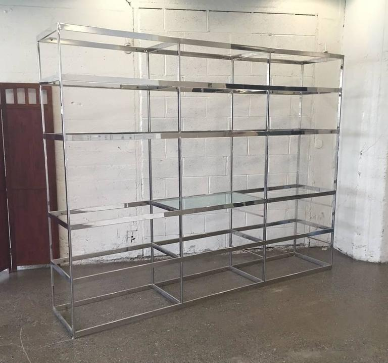 Chrome Etagere with Glass Shelves For Sale at 1stdibs
