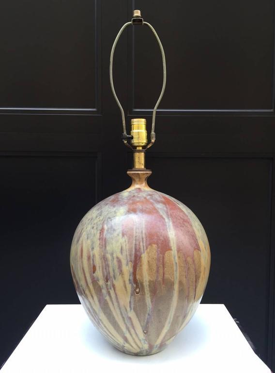 Mid-Century Modern Pair of Italian Glazed Ceramic Lamps For Sale