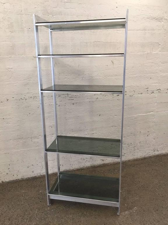 Pair of aluminum and smoked glass etageres for sale at 1stdibs - Etagere aluminium design ...