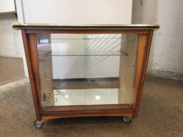 Inlay Italian Rosewood Liquor Cabinet / Bar Cart For Sale