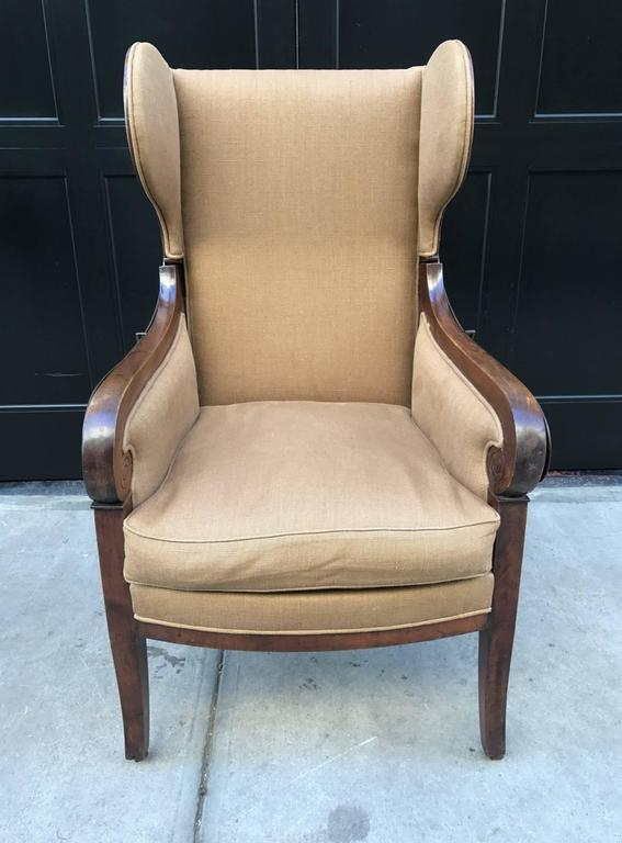 Antique, Biedermeier reclining wingback chair with a walnut frame. Has a  down cushioned seat - Antique Biedermeier Reclining Wingback Chair At 1stdibs