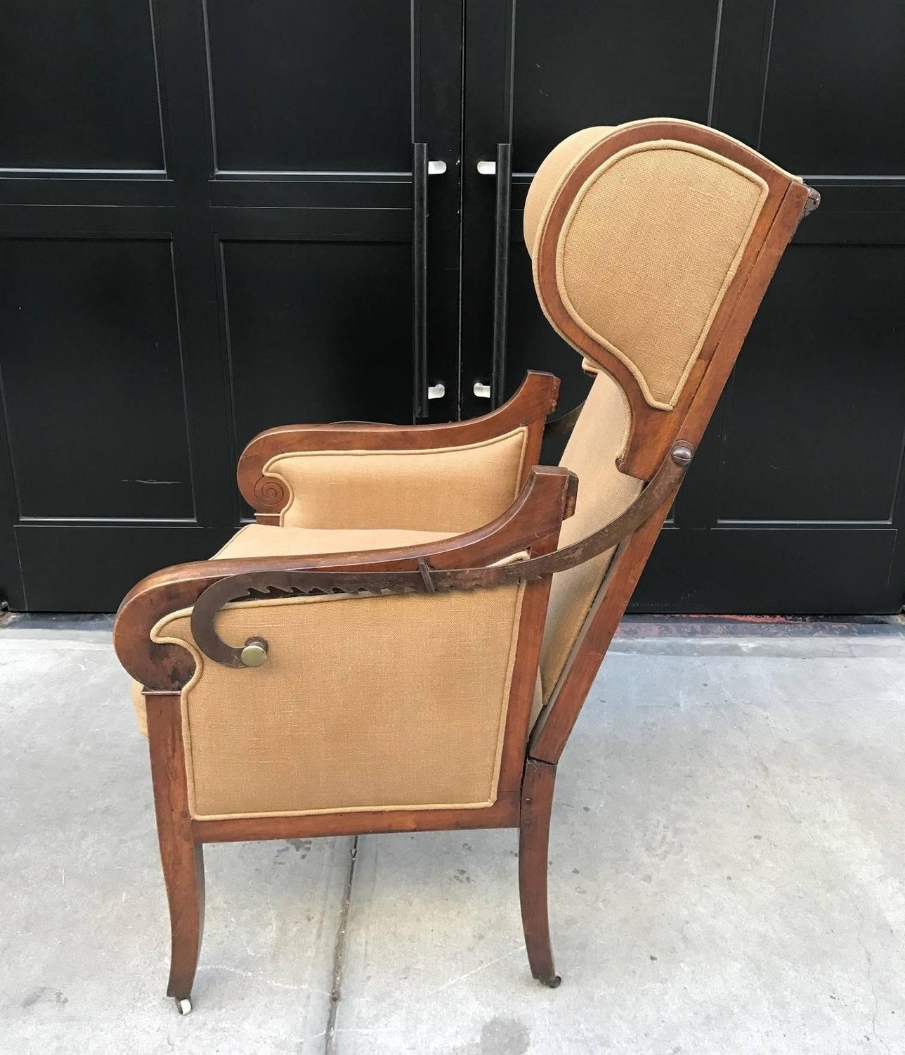 Antique Biedermeier Reclining Wingback Chair For Sale At
