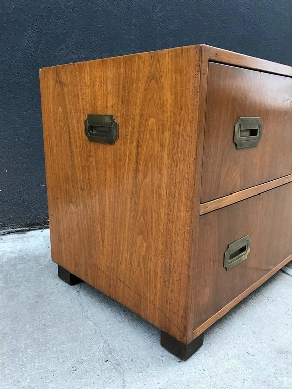 Pair of Walnut Baker Campaign Chests 6