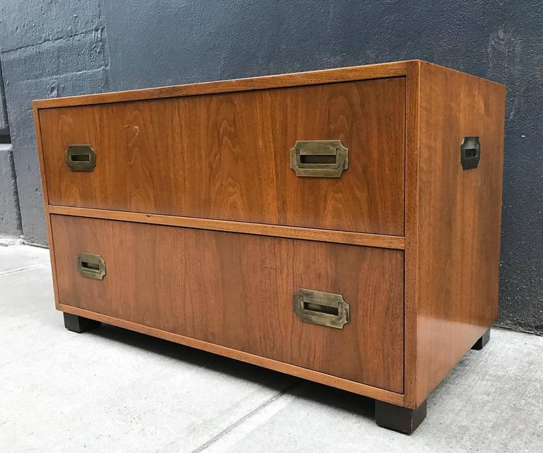Pair of Walnut Baker Campaign Chests 2