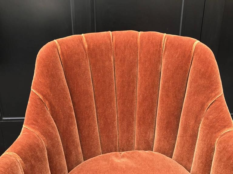 French Art Deco Side Chair in Mohair In Good Condition For Sale In New York, NY