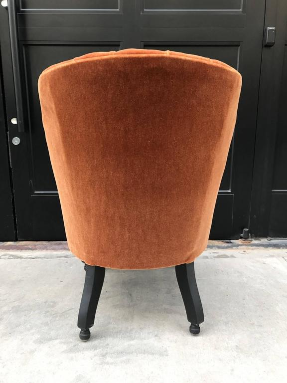Mid-20th Century French Art Deco Side Chair in Mohair For Sale