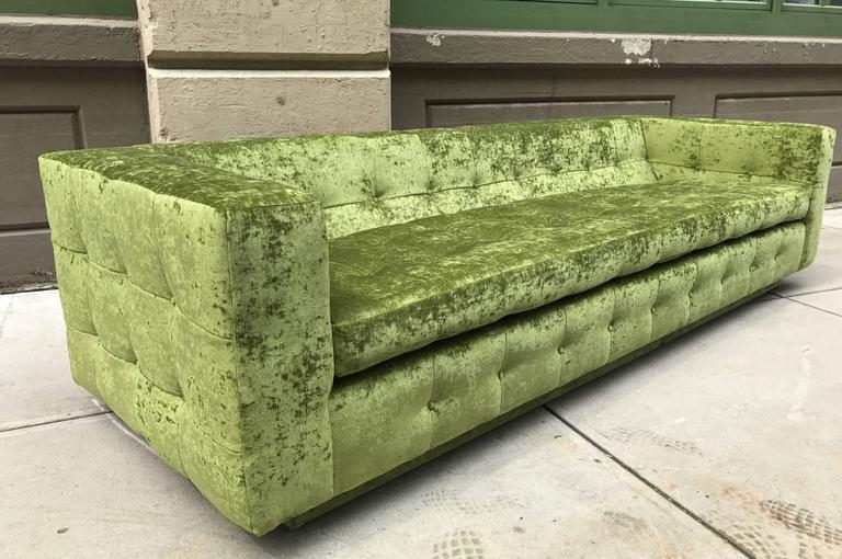 Custom Tufted Sofa Newly Upholstered In Green Velvet On Plinth Base. Has  Loose Seat And