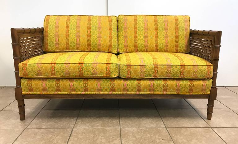 Pair of Hollywood Regency Wooden Faux Bamboo Sofas 2