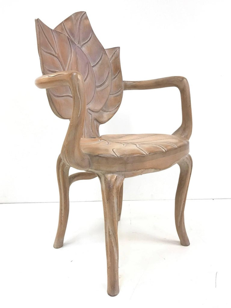Pair of hand-carved leaf arm chairs by Bartolozzi and Maioli.