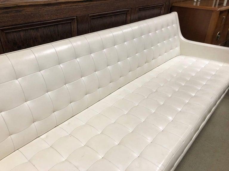 Milo Baughman for Thayer Coggin tufted sofa. Sofa is white vinyl with chrome legs.