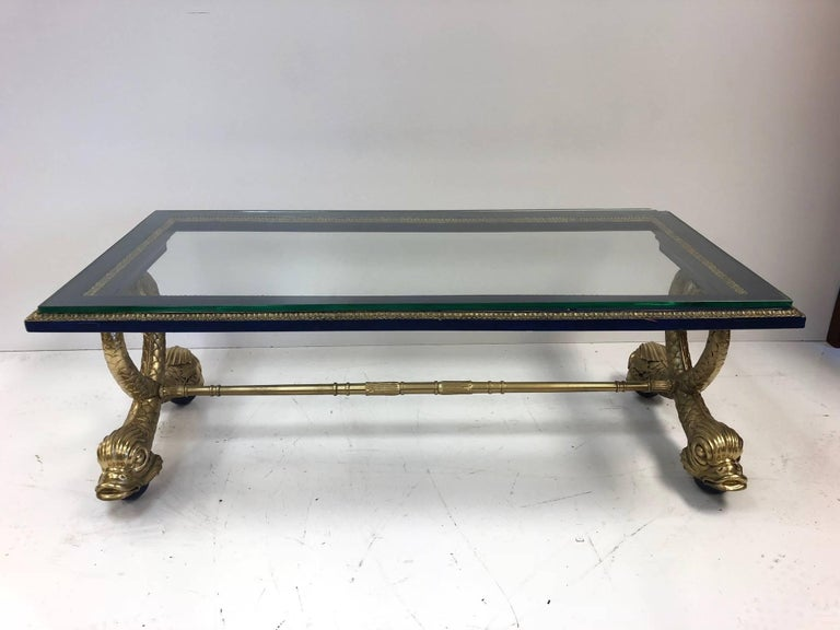Mid-20th Century Neoclassical Style Italian Carved Wood Dolphin Coffee Table For Sale