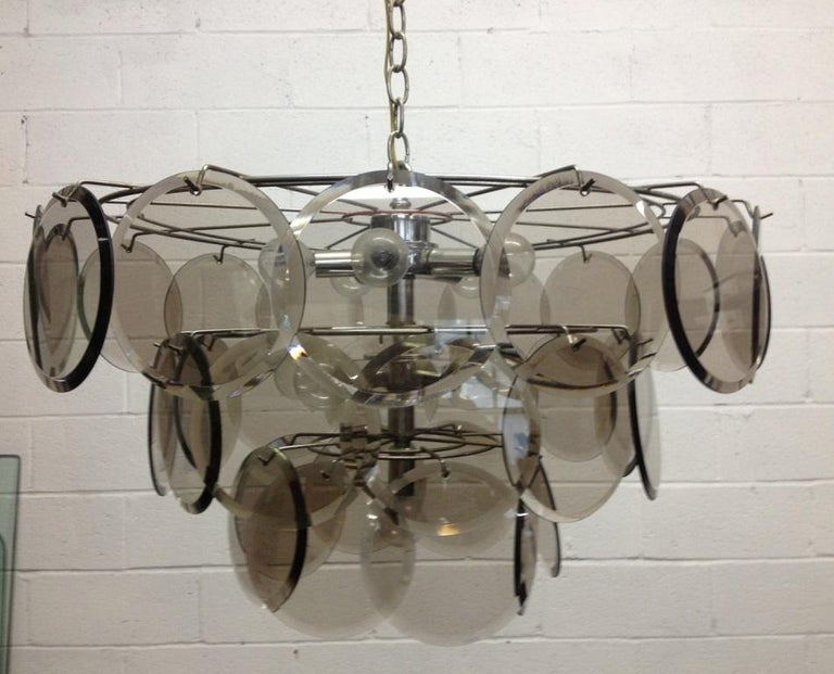 Mid-20th Century Italian, Gino Vistosi 36 Disc Chandelier for Murano For Sale
