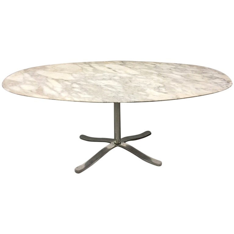 Oval Marble Table by Nicos Zographos