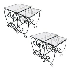 Two Pairs of French Wrought Iron Nest of Tables