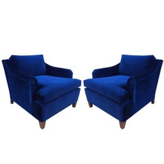 Pair of Art Deco Upholstered Lounge Chairs in Mohair
