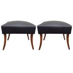 Pair of Faux Ostrich Footstools